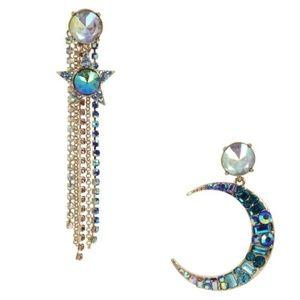 Betsey Johnson Celestial Star Moon Gold Earrings